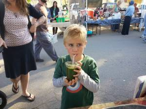 Another one of our buddies enjoying his green juice through a bendy straw!