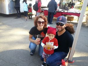 Albert, Annie and Kingston, another one of our happy families enjoying their juice at the Baywood Market.